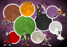 Kleurrijk Halloween malplaatje met monsters royalty-vrije illustratie