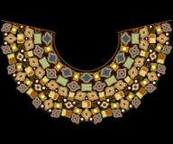 Kleurrijk halslijn etnisch ontwerp Geometrisch patroon met cijfers Vector af:drukken royalty-vrije illustratie
