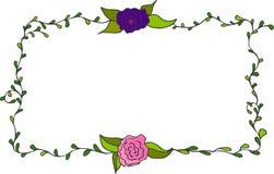Kleurrijk hand getrokken kader met rozen Stock Foto's