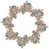 Kleurrijk hand getrokken mandala Indisch kader Rond krullend die kader op witte achtergrond wordt geïsoleerd royalty-vrije illustratie