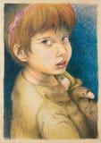 Illustratie van het jonge meisje spelen met pop Stock Afbeeldingen