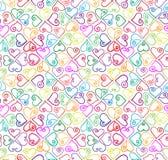 Kleurrijk harten naadloos patroon. Stock Afbeeldingen