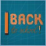 Kleurrijk helder concept terug naar school De brief/het woord worden gemaakt van gele/oranje die potloodspaanders, met waskleurpo stock afbeelding