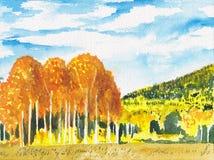 Kleurrijk helder de herfstlandschap Dalingsachtergrond Waterverfhand geschilderde illustratie Bomenschets, gouden bosscènekaart stock illustratie