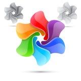 Kleurrijk helder het ontwerpmalplaatje van de regenboogwindmolen Royalty-vrije Stock Foto