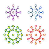 Kleurrijk het embleemelement van de ontwerpmolecule. stock illustratie