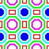 Kleurrijk Hexagon en Vierkant vorm symmetrisch naadloos patroon Royalty-vrije Stock Foto