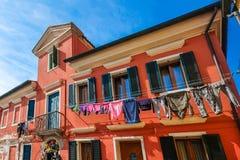 Kleurrijk huis, Burano-Eiland, Venetië, Italië Stock Afbeeldingen