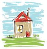 Kleurrijk huis, jonge geitjes het trekken Royalty-vrije Stock Afbeelding