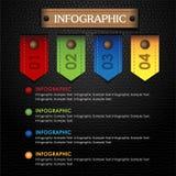 Kleurrijk Infographiclint en leer zwarte achtergrond Stock Foto