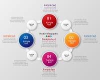 Kleurrijk infographicsmalplaatje met stappen, opties Stock Foto