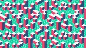 Kleurrijk isometrisch stadspatroon 3d abstract malplaatje royalty-vrije illustratie
