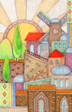 Kleurrijk Jeruzalem royalty-vrije illustratie