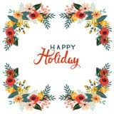Kleurrijk kader met uitstekende boeketten van bloemen op een witte achtergrond Stock Fotografie