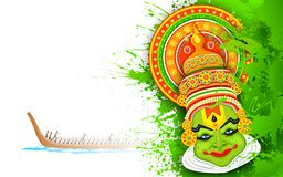 Kleurrijk Kathakali-Gezicht Stock Afbeeldingen