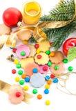 Kleurrijk Kerstmiskoekjes en suikergoed Royalty-vrije Stock Foto's