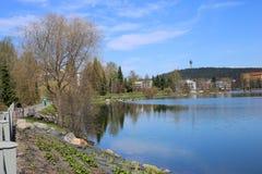 Kleurrijk Landschap van de Lente in Kuopio, Finland royalty-vrije stock foto