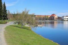 Kleurrijk Landschap van de Lente in Kuopio, Finland royalty-vrije stock afbeelding