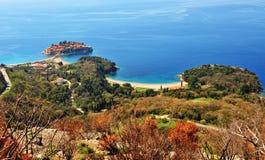 Kleurrijk landschap van Montenegro: Het eiland van Svetistefan Stock Fotografie