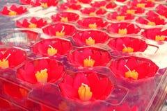 Kleurrijk Lotus-kaarsontwerp, Bloemenkaars die op water drijven stock foto