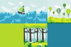 Kleurrijk malplaatje voor reclamefolder met aardlandschap stock illustratie