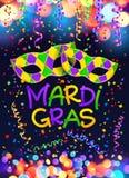 Kleurrijk Mardi Gras-affiche en vliegermalplaatje met de maskers, de kronkelweg en de confettien van Carnaval royalty-vrije illustratie