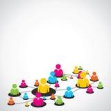 Kleurrijk mensennetwerk Stock Foto