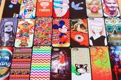 Kleurrijk mobiel geval Stock Foto's