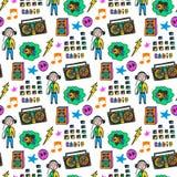 Kleurrijk muzikaal naadloos patroon Pretkleuren De achtergrond van de krabbelmuziek Royalty-vrije Stock Afbeelding