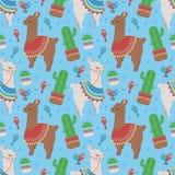 Kleurrijk naadloos beeldverhaalpatroon voor kinderen met leuke Peruviaanse lama's of alpacas met poncho's en cactus op blauw BG stock illustratie