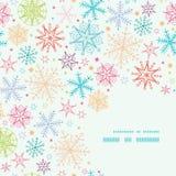 Kleurrijk Naadloos de Hoekkader van Krabbelsneeuwvlokken Stock Foto's