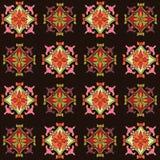 Kleurrijk naadloos die patroon met kleuren bloemenmotief wordt geplaatst Stock Foto's