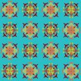 Kleurrijk naadloos die patroon met kleuren bloemenmotief wordt geplaatst Stock Fotografie
