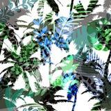 Kleurrijk in naadloos exotisch patroon met palm en dierlijke drukken Modern abstract ontwerp voor document, behang, dekking Stock Foto's