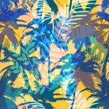 Kleurrijk in naadloos exotisch patroon met palm en tropische installaties Modern abstract ontwerp voor document, behang Royalty-vrije Stock Afbeelding