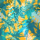Kleurrijk in naadloos exotisch patroon met palm en tropische installaties Modern abstract ontwerp voor document, behang Stock Fotografie
