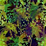 Kleurrijk in naadloos exotisch patroon met palm, tropische installaties en hand getrokken texturen Modern abstract ontwerp voor Royalty-vrije Stock Afbeelding