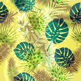 Kleurrijk in naadloos exotisch patroon met tropische planten en dierlijke drukken Modern abstract ontwerp voor document Royalty-vrije Stock Afbeeldingen