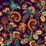 Kleurrijk naadloos Paisley patroon Decoratief Indisch ornament Bloemen behang vector illustratie
