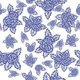 Kleurrijk naadloos patroon Hand getrokken blauwe rozen op witte achtergrond Uitstekend ontwerp Royalty-vrije Stock Foto's