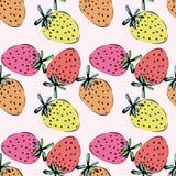 Kleurrijk naadloos patroon met aardbeien Stock Afbeelding