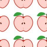 Kleurrijk naadloos patroon met appelen op de witte achtergrond Stock Afbeelding