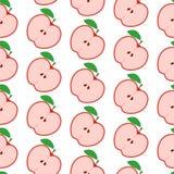 Kleurrijk naadloos patroon met appelen op de witte achtergrond Stock Foto