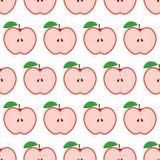 Kleurrijk naadloos patroon met appelen op de witte achtergrond Stock Afbeeldingen
