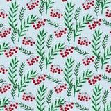 Kleurrijk naadloos patroon met ashberry en bladeren stock illustratie