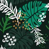 Kleurrijk naadloos patroon met bladeren royalty-vrije illustratie