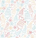 Kleurrijk naadloos patroon met bloemen en harten Fantasie overladen achtergrond voor drukken, textiel, het scrapbooking, ambachtd stock illustratie