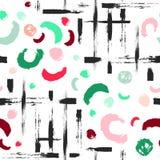 Kleurrijk naadloos patroon met borstelpunten, slagen, cirkels en slagen Regenboogkleur op witte achtergrond Hand Stock Fotografie