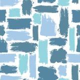 Kleurrijk naadloos patroon met borstelslagen Overzeese fantasie Blauwe kleur op witte achtergrond Hand geschilderde landhuistextu Royalty-vrije Stock Afbeelding