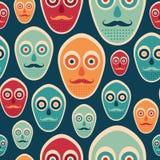 Kleurrijk naadloos patroon met hipstermaskers Stock Foto